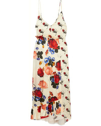 Mother of Pearl Wrap Effect Floral Print Silk Satin Maxi Dress