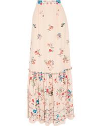 Beige Floral Silk Maxi Skirt