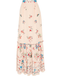 Lily floral print silk crepe de chine maxi skirt ecru medium 696392