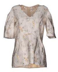 Beige Floral Silk Short Sleeve Blouse