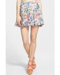 Lucca Couture Pleated Floral Miniskirt