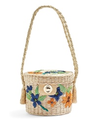 Topshop Fable Floral Straw Bucket Bag