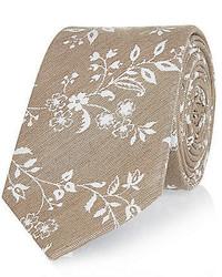 River Island Beige Silk Floral Tie