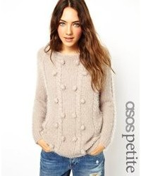 Asos Petite Fluffy Arran Sweater With Bobbles