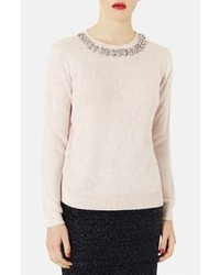 Topshop Embellished Neck Sweater Nude 4