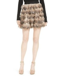 Alice + Olivia Cina Genuine Feather Miniskirt