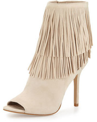 Beige Fringe Suede Ankle Boots