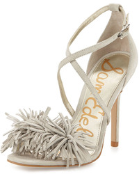 Aisha suede fringe high heel sandal greige medium 523817