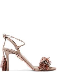Wild thing fringed suede sandals beige medium 3645581