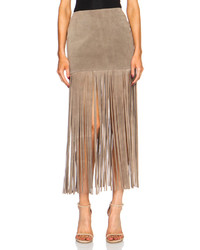 Theperfext mimi fringe suede skirt medium 320256