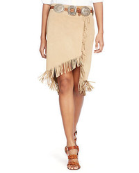 Fringed suede wrap skirt medium 560277