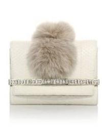 Bow embellished python fox fur clutch medium 402997