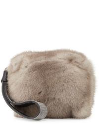 Monili mink fur cube wristlet clutch bag clay medium 402996