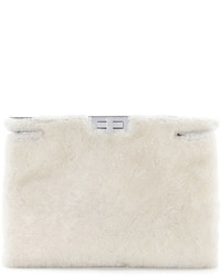Peekaboo shearling fur clutch bag white medium 402995