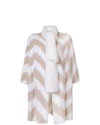 Fendi Chevron Pattern Fur Coat With Scarf Detail