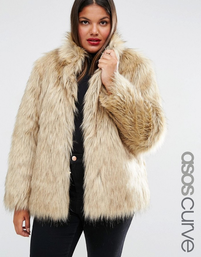 c267ff3cd9d ... Asos Curve Curve Jacket In Vintage Faux Fur ...