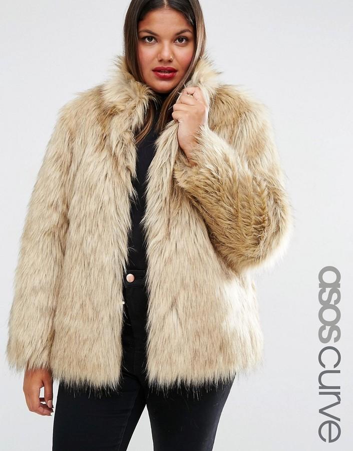 d32ef67cb46 ... Asos Curve Curve Jacket In Vintage Faux Fur ...