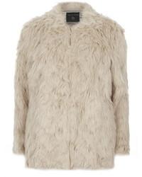 Dorothy Perkins Blonde Longline Collarless Faux Fur Coat