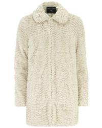 Dorothy Perkins Cream Longline Faux Fur Coat