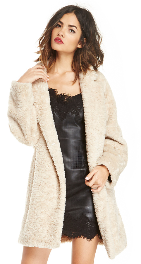 Maison Scotch Faux Fur Coat In Beige M | Where to buy & how to wear