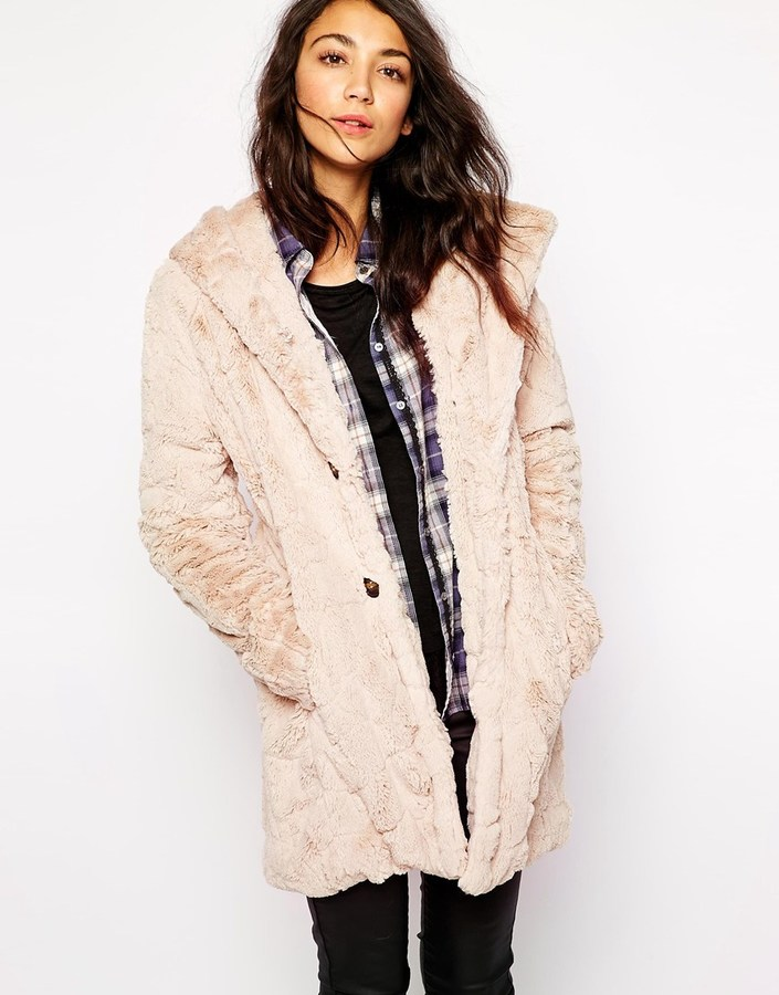 Esprit Faux Fur Hooded Coat   Where to buy & how to wear