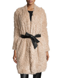 Goldie London Aviation Belted Furry Coat Beige