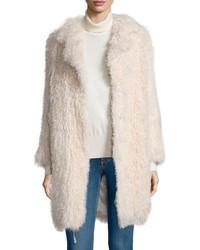 Elizabeth and James Hart Long Sleeve Shearling Fur Coat Nude