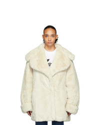 We11done Off White Faux Fur Coat