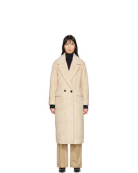 The Loom Off White Wool Faux Fur Double Coat