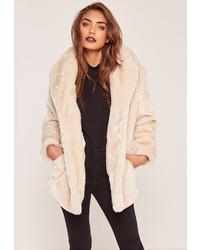 Missguided Petite Pressed Faux Fur Coat Cream