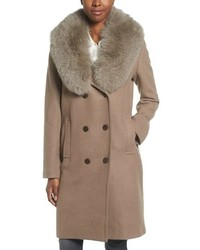 Elie Tahari Trystan Wool Blend Coat With Genuine Fox Fur Trim
