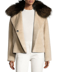 Derek Lam 10 Crosby Fur Trim Colorblock Coat Beige
