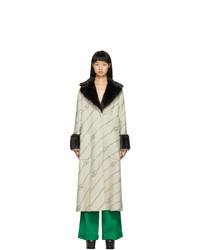 Gucci Off White Faux Fur Collar Crystal Gg Coat