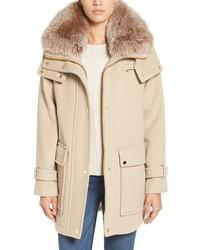 Trina Turk Peyton Genuine Fox Fur Trim Wool Blend Duffle Coat