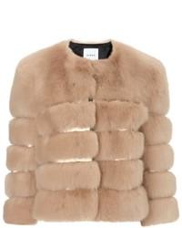 Ainea Beige Gold Faux Fur Jacket