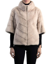 Chevron mink fur topper jacket medium 6447986