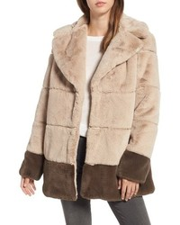 Rachel Rachel Roy Colorblock Panel Faux Fur Jacket