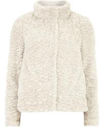 Dorothy Perkins Cream Short Funnel Faux Fur Coat