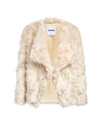 BB Dakota Drape Front Faux Fur Jacket