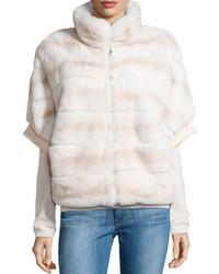 Gorski Rabbit Fur Short Sleeve Jacket Beige Stripe