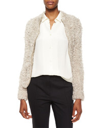 IRO Kald Lamb Shearling Fur Zip Jacket Beige