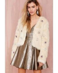 Nasty Gal Night Dazzler Faux Fur Jacket Ivory