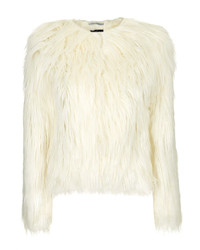 Topshop Silky Long Faux Fur Jacket With Jersey Lining And Hook And Eye Fastening 100% Modacrylic Dry Clean Only