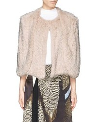 Nobrand Tara Rabbit Fur Knit Cape Jacket