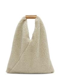 MM6 MAISON MARGIELA Beige Small Teddy Triangle Bag