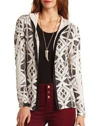 Charlotte Russe Hooded Open Front Aztec Cardigan