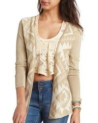Charlotte Russe Open Front Aztec Cardigan Sweater