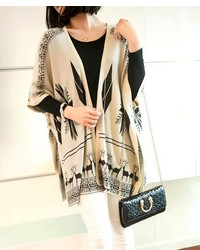 Beige Geometric Open Cardigan