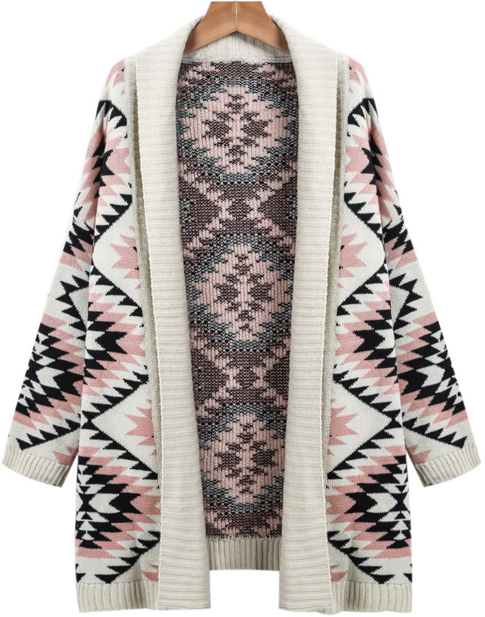 8a7a55fe00e ... Apricot Long Sleeve Geometric Knit Cardigan Sweater ...