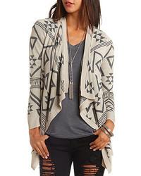 Charlotte Russe Geo Pattern Cascade Cardigan Sweater